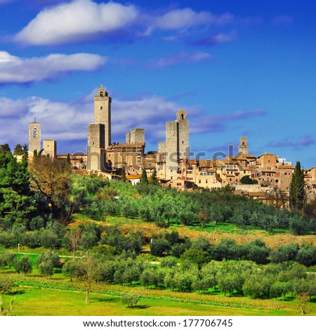 beautiful Italy series, view of  San Gimignano - medieval town of Tuscany