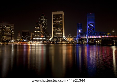 Beautiful Jacksonville, Florida skyline with reflections in St. John's River after dark