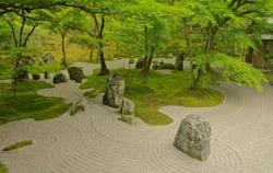 Beautiful Japanese zen rock garden call in Japanese is karesansui ,where is Komyozenji Temple in Dazaifu ,Fukuoka ,Kyushu ,Japan. Komyozenji shrine is a Zen temple ,has front and rear stone gardens.
