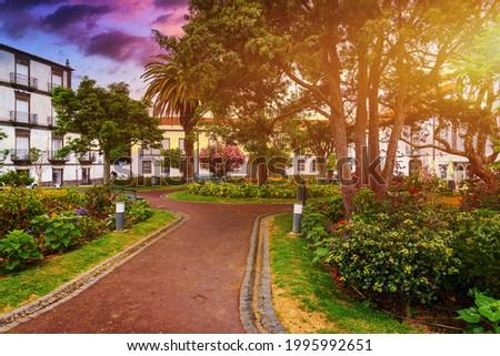 Beautiful Jardim Sena Freita, located in the historic center of Ponta Delgada city on Sao Miguel island. Azores, Sao Miguel, Portugal. Foto stock ©