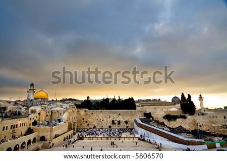 Beautiful Jerusalem landscape at sunrise