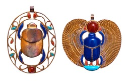 Beautiful jewelry with semiprecious stones, lapis lazuli, carnelian,  necklaces for woman in a shape of the ancient Egyptian scarab symbol, ancient egypt design