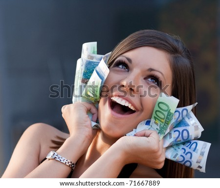 Beautiful joyful girl with Euro bills. Please check similar images in my portfolio.