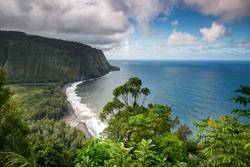Beautiful jungle view of Waipio Valley and the black sand beach on the Big Island of Hawaii