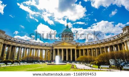 Beautiful Kazan Cathedral in St.Petersburg, Russia, Cathedral of Our Lady of Kazan. #1168909453