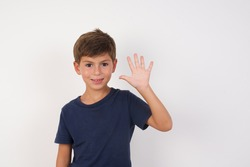 Beautiful kid boy wearing casual t-shirt standing over isolated white background showing and pointing up with fingers number five while smiling confident and happy.