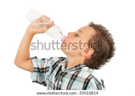 Beautiful kid drinking water, isolated on white background