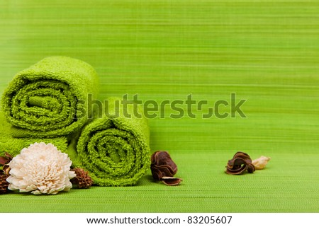 beautiful kit for spa and aromatherapy on a green background
