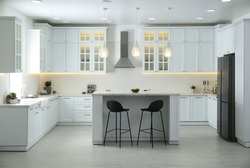 Beautiful kitchen interior with new stylish furniture