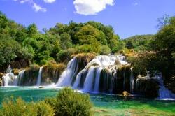 Beautiful Krka Waterfalls in Krka National Park,Croatia.Long exposure for flowing water.
