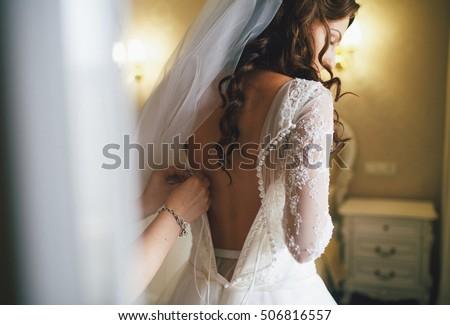 Beautiful lace back of the wedding dress Foto stock ©