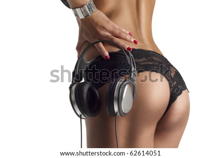 beautiful lady ass with dj headphones isolated on white