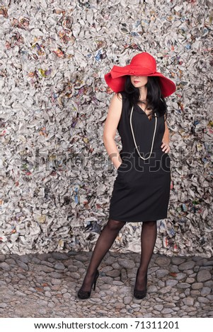 Beautiful lady in red hat over the grunge background