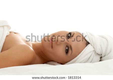 beautiful lady in spa salon