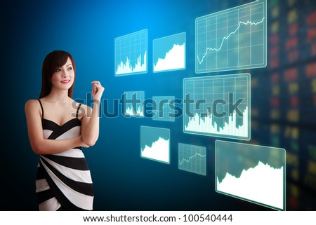 Beautiful lady look at the stock exchange graph report