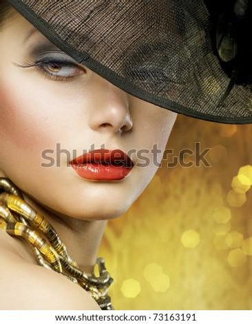 Beautiful Lady over luxury gold background