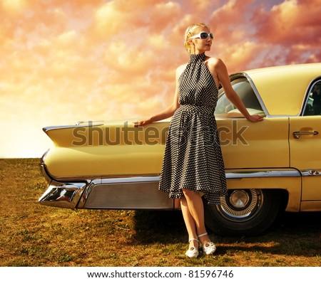 stock photo beautiful lady standing near retro car 81596746 - Каталог — Фотообои «Ретро»