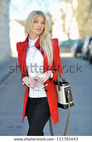 Beautiful lady with bag after shopping - stock photo