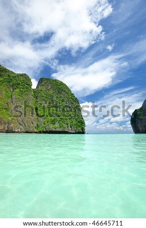 """Beautiful lagoon at  Phi Phi Ley island, the exact place where """"The Beach"""" movie was filmed - stock photo"""