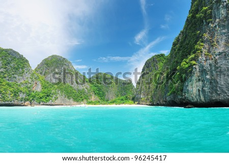"Beautiful lagoon at  Phi Phi Ley island, the exact place where ""The Beach"" movie was filmed"