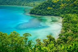 Beautiful lagoon in the jungle on the Indonesian island of Sumbawa