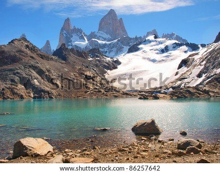Beautiful Laguna de Los Tres with Mt Fitz Roy in the background in Patagonia, Argentina, South America