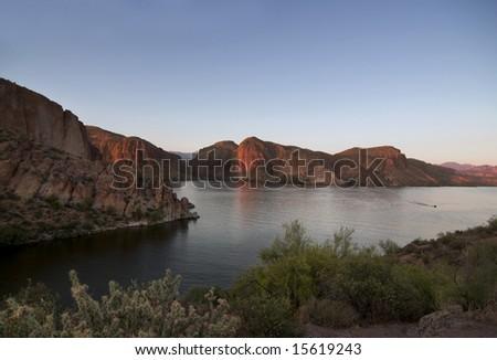 Beautiful lake at sunset in Arizona
