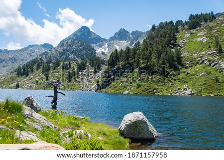 Beautiful lake at the Pyrenees mountains in Vall D'Aran Foto stock ©