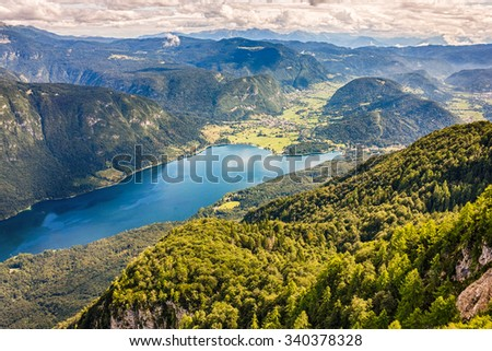Beautiful Lake Bohinj surrounded by mountains of Triglav national park. view from Vogel cable car top station, Slovenia Stockfoto ©