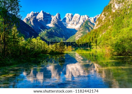 Beautiful Lake Durrensee or Lake Landro and the Dolomites mountain in the morning at South Tyrol Italy #1182442174