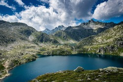 Beautiful lake in Adamello Brenta  Natural Park. Dolomites, Italy.