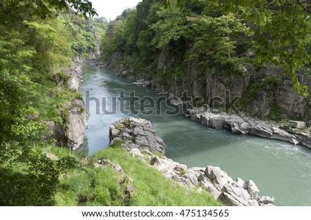 Beautiful lake in Nagano, Japan, subject is blurred #475134565