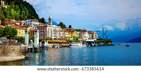 beautiful lake Lago di Como - panorama of Bellagio town. North of Italy, Lombardy