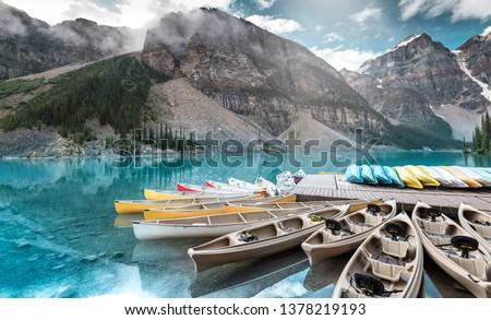 Beautiful lake moraine in Banff national park, Alberta, Canada #1378219193