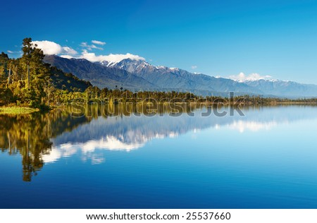 Beautiful lake, New Zealand, Southern Alps - stock photo