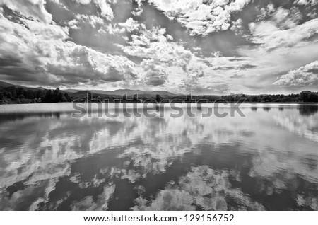 Beautiful lake reflection black and white