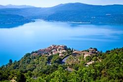 Beautiful Lake Sainte Croix of Verdon lake, provence, France. Taken from de village of Sainte Croix du Verdon