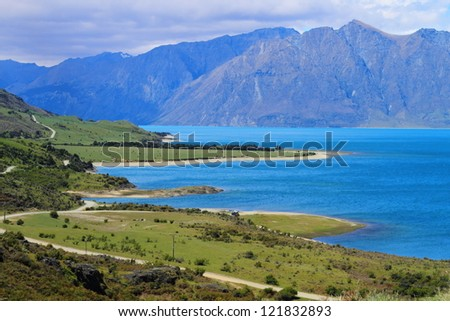 Beautiful lake Wanaka in Otago Region, South Island, New Zealand