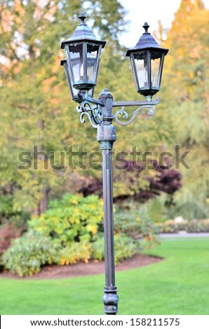 Beautiful lamp post in the park
