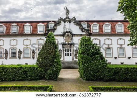 Shutterstock Beautiful 3-landing garden decorated with a Baroque fountain near Vila Flor. Vila Flor Palace, built by Tadeu Luis Antonio Lopes de Carvalho de Fonseca and Camoes in 18th century. Guimaraes, Portugal.