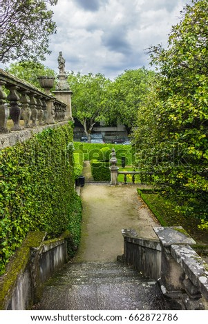 Shutterstock Beautiful 3-landing garden decorated with a Baroque fountain near Vila Flor. Vila Flor Palace, built by Tadeu Luis Antonio Lopes de Carvalho de Fonseca and Camoes in 18th century. Guimaraes, Portugal.