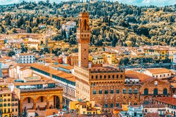 Beautiful landscape above- Palace Vecchio (Palazzo Vecchio) in Piazza della Signoria, built in 1299-1314 ,one of the most famous buildings of the city. Italy.