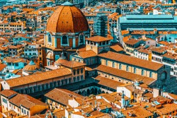 Beautiful landscape above urban and historical view of the Florence from Giotto's Belltower (Campanile di Giotto).The Medici Chapel (Cappelle Medicee).Italy.