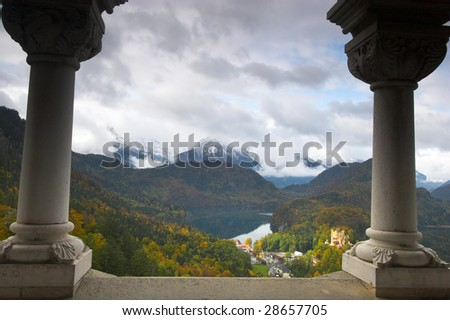 Beautiful landscape and Schwangau village seen from Neuschwanstein castle in Bavaria