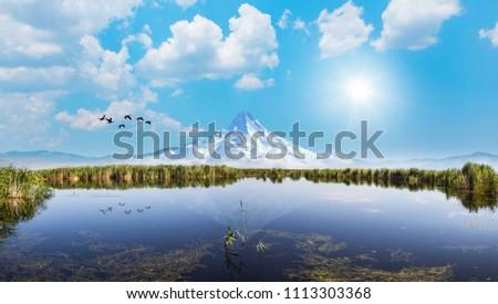 Beautiful landscape and Sultanmarshes (bird paradise) next to erciyes mountain, Kayseri