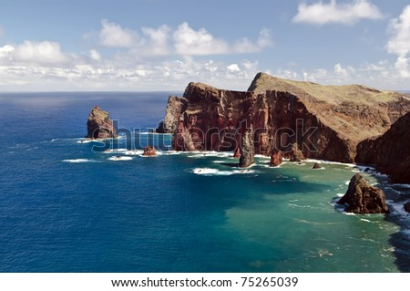 Beautiful landscape at the north coast of Ponta de Sao Lourenco,the easternmost part of Madeira Island