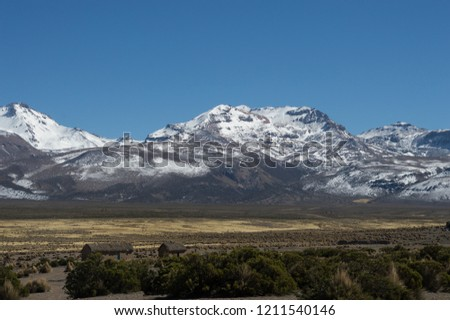 beautiful landscape composed of adobe houses in remote place surrounded by green vegetation and yellow vegetation at the foot of snowy mountains in sajama national park in Bolivia #1211540146