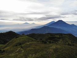 Beautiful Landscape from top of Prau Mountain, Wonosobo, Indonesia. You can see other moutain such as Sindoro and Sumbing