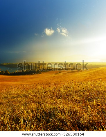 Beautiful landscape, green and yellow meadow and lake. Slovakia, Central Europe #326580164