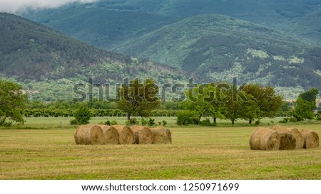 Mount Currie And Hay Bales Pemberton Stock Photo